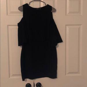 Cold shoulder black mini dress sz 10 Boohoo